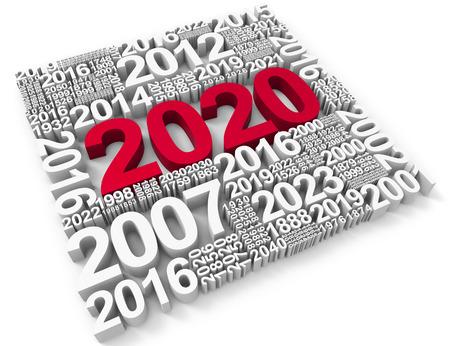 twenty two: Two Thousand Twenty Showing New Year 2020 3d Rendering