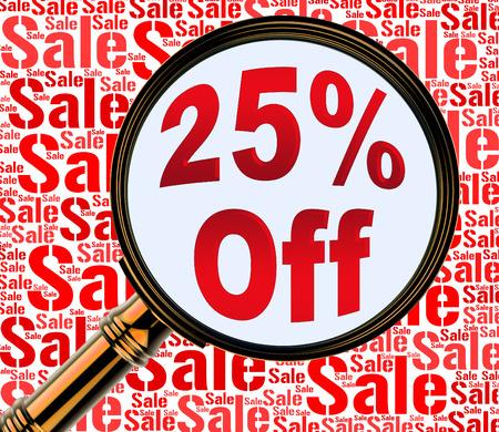 twenty five: Twenty Five Percent Off Showing 25% Discount 3d Rendering