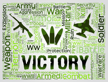 the victorious: Victory Words Meaning Winning Battle And Victorious Stock Photo