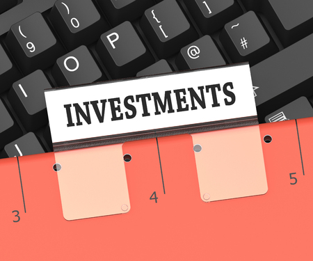 stock investing: Investments File Showing Stock Investing 3d Rendering Stock Photo