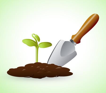 Gardening Trowel Representing Grow Flowers 3d Illustration Stock Photo