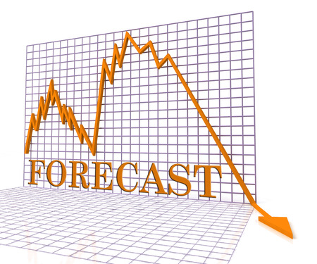 forecasts: Forecast Graph Negative Representing Economic Downturn 3d Rendering Stock Photo
