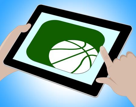 Online basketbal die Tablet vertegenwoordigen die 3d Illustratie spelen Stockfoto