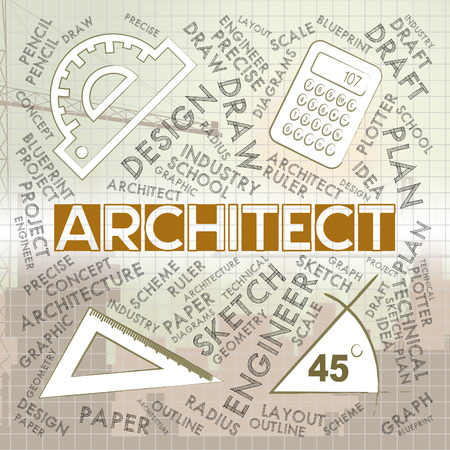 Architect blocks character meaning draftsman career 3d rendering 63921360 architect words meaning architecture draftsman and employment malvernweather Gallery