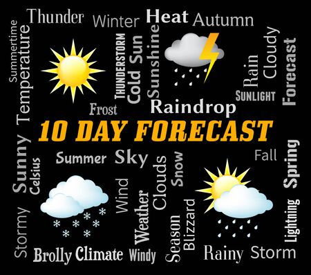forecaster: Ten Day Forecast Representing Bad Weather And Forecasting Stock Photo