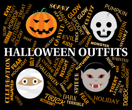 outfits: Halloween Outfits Showing Trick Or Treat Clothes Stock Photo