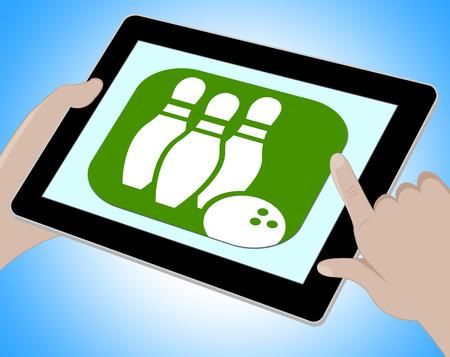 indicating: Bowling Online Indicating Ten Pin 3d Illustration