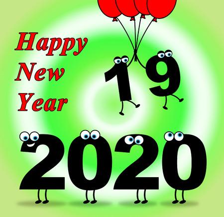 twenty two: Two Thosand Twenty Indicating 2020 New Year 3d Illustration