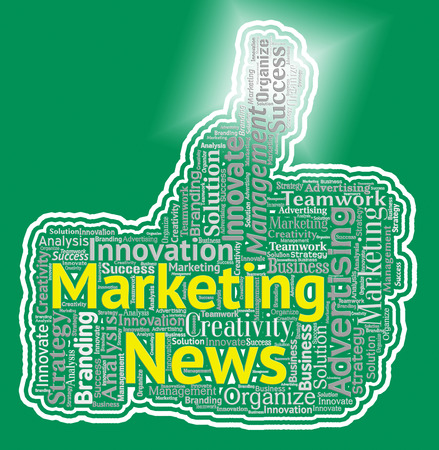 emarketing: Marketing News Thumb Meaning Promotions And Advertising Stock Photo