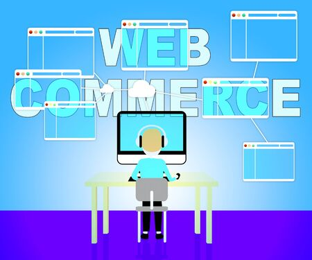 sell online: Web Commerce Showing Online Trade 3d Illustration