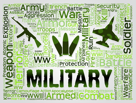 forces: Military Word Meaning Armed Forces And Defense Stock Photo