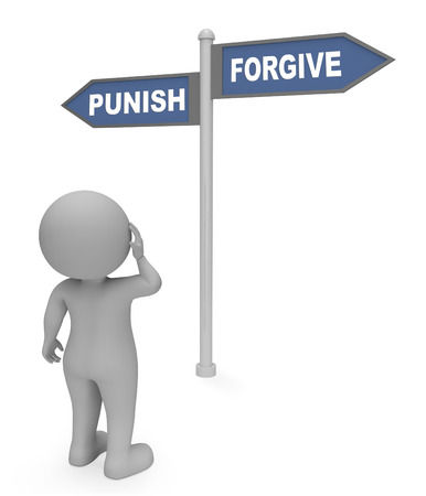 perdonar: Sancionar la perdono Rótulo Significado dejar fuera de Representación 3d Foto de archivo