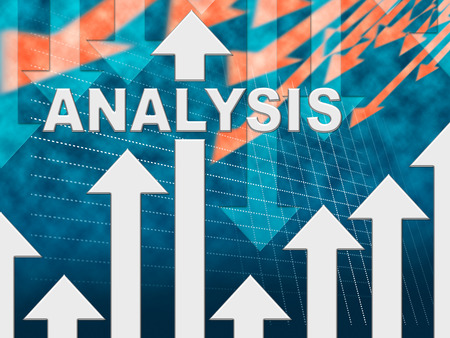 investigates: Analysis Graph Showing Data Analytics And Research Stock Photo