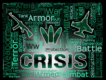calamity: Crisis Words Showing Hard Times And Calamity Stock Photo
