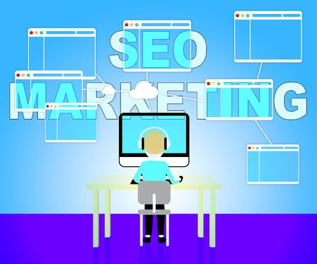 emarketing: Seo Marketing Showing Search Engines 3d Illustration