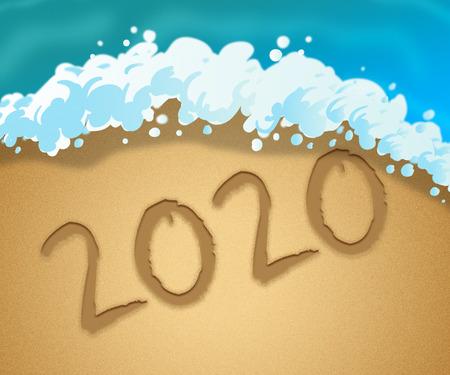 Two Thousand Twenty Indicates New Year 3d Illustration 2020