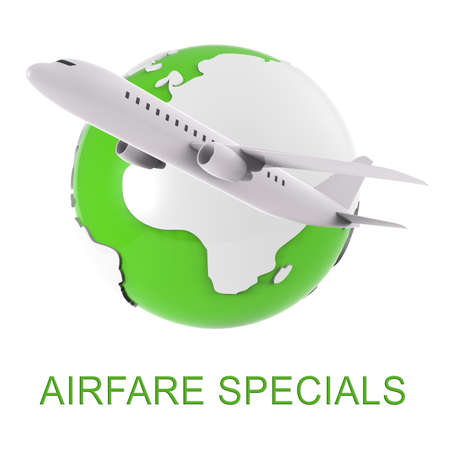 discounted: Airfare Specials Means Airplane Promotion 3d Rendering