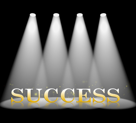 triumphant: Success Spotlight Representing Triumphant Win 3d Rendering Stock Photo
