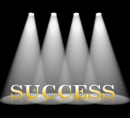 triumphant: Success Spotlight Representing Triumphant Win 3d Rendering Stock Photo