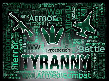 suppression: Tyranny Words IndicatingReign Of Terror And Dictatorship