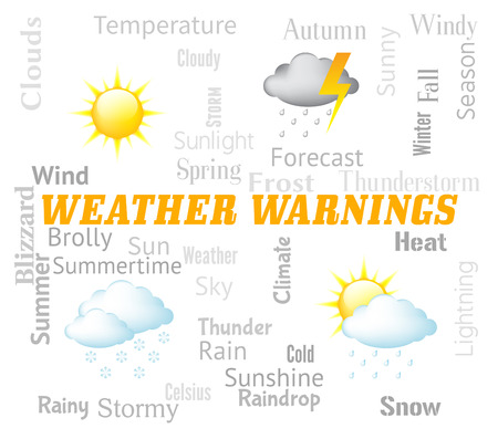 meteorological: Weather Warnings Showing Meteorological Conditions And Caution