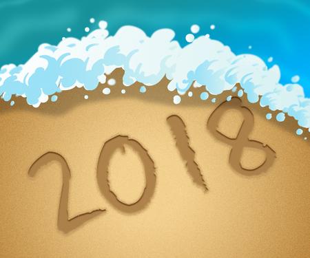 Twenty Eighteen Indicating 2018 Beach 3d Illustration