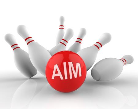 Bowling Aim Representing Aims Strike 3d Rendering Stock Photo