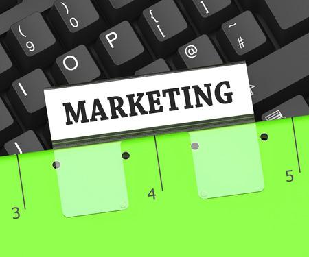emarketing: Marketing File Meaning Promotion Folder 3d Rendering