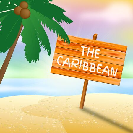 Caribbean Holiday Showing Tropical Holiday 3d Illustration Imagens