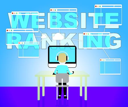 search engine optimized: Website Rankings Representing Search Engine 3d Illustration