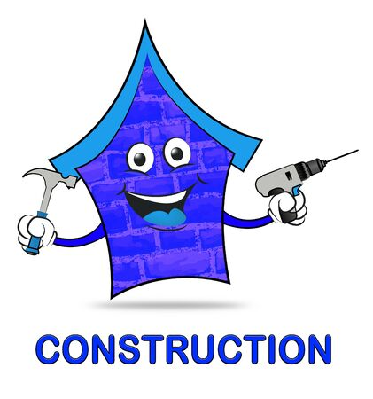 house construction: House Construction Meaning Real Estate Building 3d Illustration