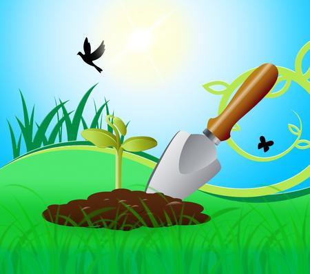 growing flowers: Gardening Trowel Representing Growing Flowers 3d Illustration Stock Photo