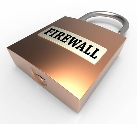 safeguards: Firewall Padlock Meaning Safe Protected 3d Rendering Stock Photo
