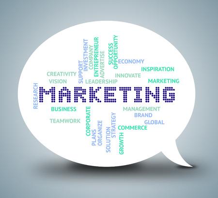 Marketing Words Meaning Internet Promotions 3d Illustration