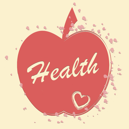 preventive medicine: Health Apple Meaning Healthy Wellness And Care Stock Photo