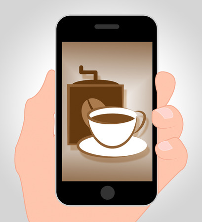 meaning: Coffee Online Meaning Internet Cafe 3d Illustration
