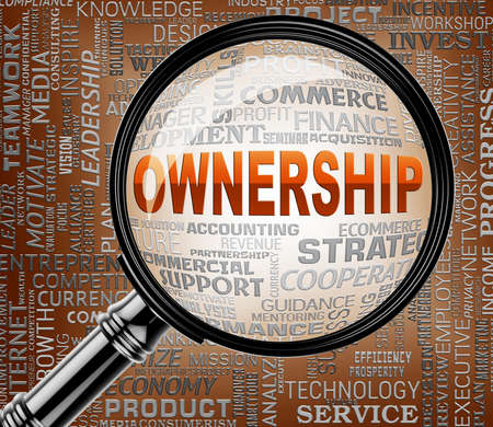 proprietary: Ownership Magnifier Meaning Proprietary Rights 3d Rendering