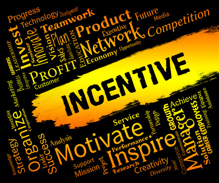 inducement: Incentive Words Meaning Bonus Rewards And Bonus Stock Photo