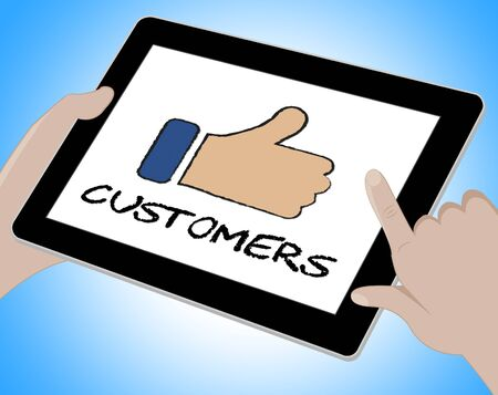 shopper: Customers Online Meaning Internet Shopper 3d Illustration Stock Photo