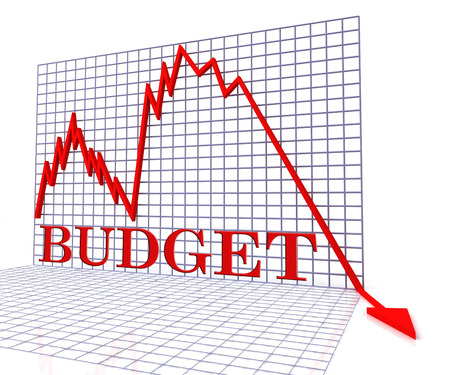 budgeting: Budget Graph Negative Showing Budgeting Decline 3d Rendering Stock Photo