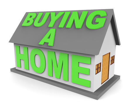 buying a home: Buying A Home Showing House Purchases 3d Rendering Stock Photo