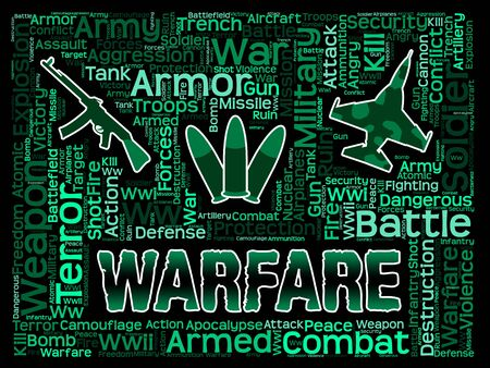 hostility: Warfare Words Indicating Military Action And Hostilities Stock Photo