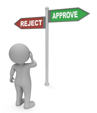 disallowed: Reject Approve Sign Meaning Assurance 3d Rendering
