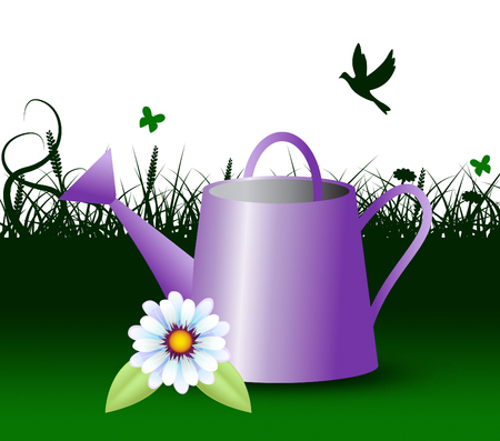 horticulture: Watering Can Representing Horticulture Outdoors 3d Illustration