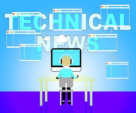hi tech: Technical News Representing Hi Tech Media 3d Illustration