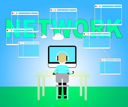 通信: コンピューター ネットワークの世界規模の通信を表す 3 d イラストレーション