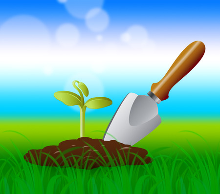 sowing: Gardening Trowel Representing Growing Plants 3d Illustration