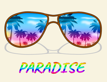 idyllic: Paradise Glasses Showing Idyllic Beaches 3d Illustration
