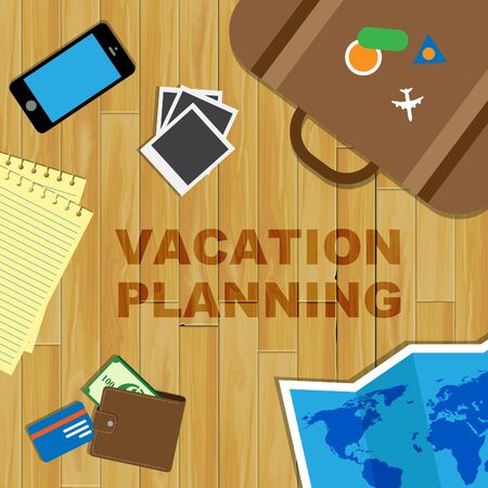 time off: Vacation Planning Showing Time Off And Plans Stock Photo