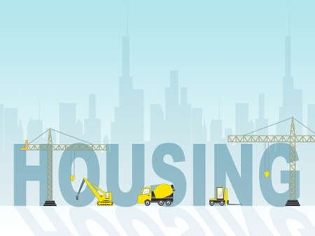 homes: Housing Construction Representings Homes Building 3d Illustration Stock Photo